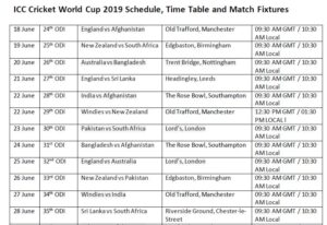 PDF] ICC Cricket World Cup 2019 Schedule Free Download PDF