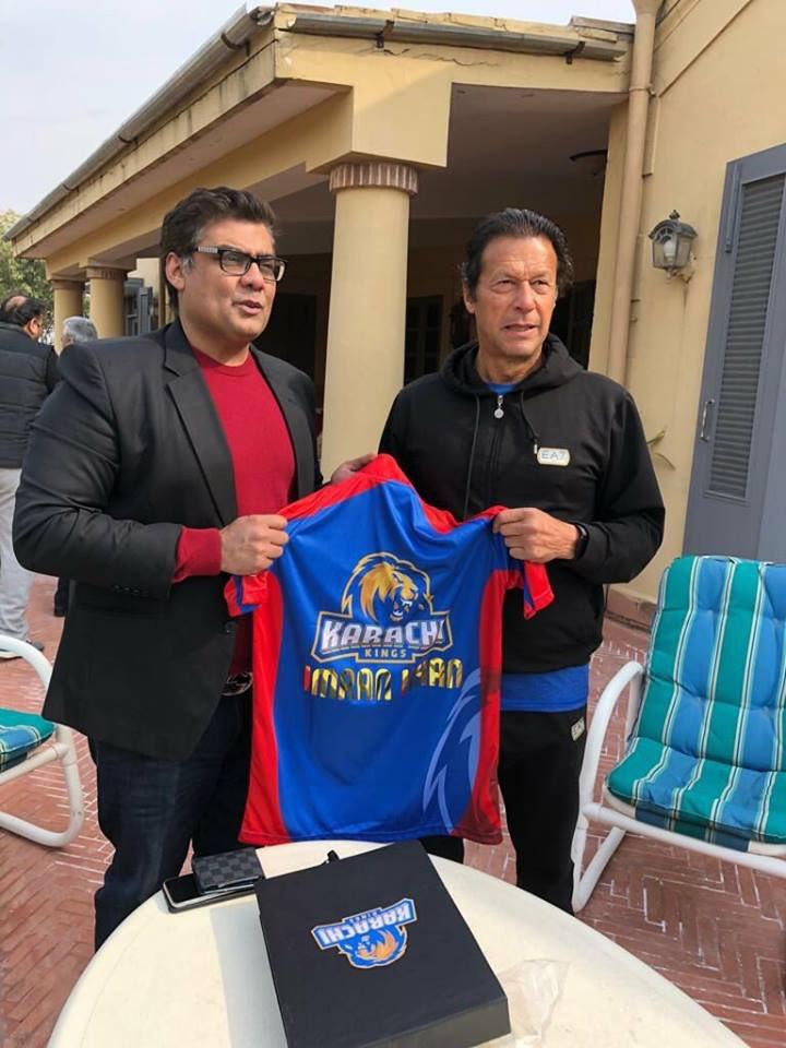 Karachi Kings Owner Salman Iqbal Presenting Karachi Kings Shirt to Prime Minister Imran Khan