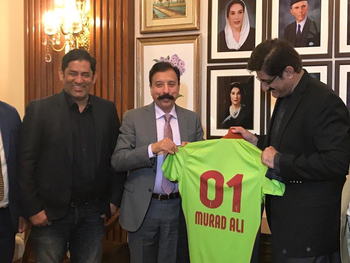 Fawad Rana Presenting Lahore Qalandars T-shirt To CM Sindh Murad Ali Shah