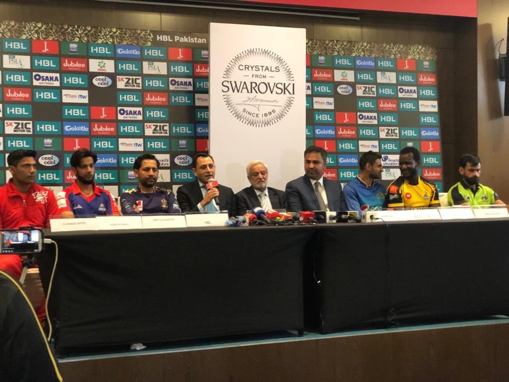 PCB Chairman Ehsan Mani with all psl teams captains speaks to the press after post PSL 4 revealing ceremony
