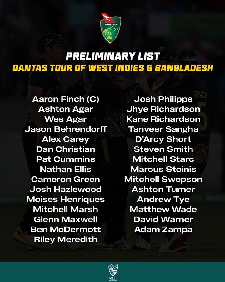 List of Australian players vs Bangladesh and West Indies